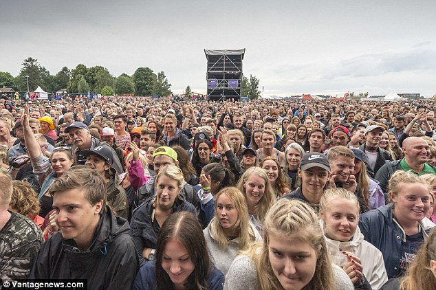 Melissa Horn performs at the Bravalla music festival in Norrkoping, Sweden which is the biggest music festival in Sweden where Mumford and Sons would later headline