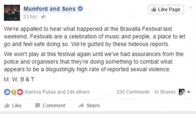 The British band headlined Bravalla festival in Norrköping on the weekend, but have vowed not to return after music lovers reported five rapes and a number of sexual assaults