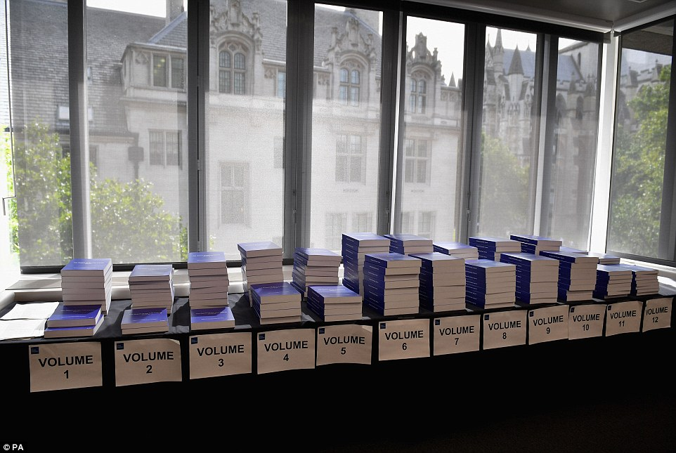 Anger: Families have said they were given no real time before today's announcement to read the full the report, which runs into 12 volumes and 2.6million words -and is three times longer than the complete works of William Shakespeare