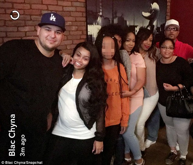 Cameras on: Rob Kardashian and Blac Chyna have started filming their very own docuseries for E! titled Blac & Chyna which will debut in the fall; here they are seen with her family for a clip posted to Snapchat