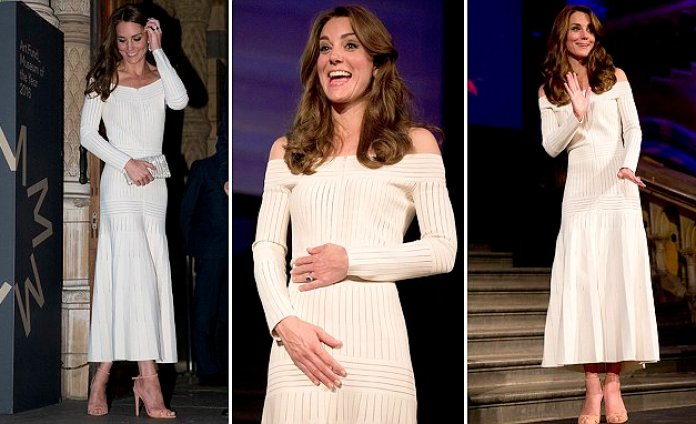 Kate Middleton wears a daring off-the-shoulder gown at Natural History Museum