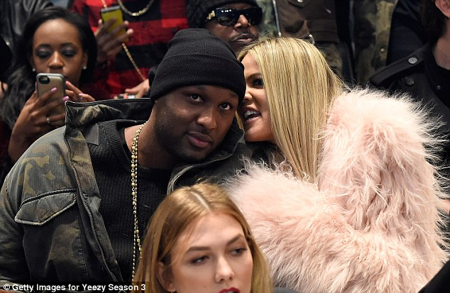 Good place: The star withdrew the petition in October, after Lamar was hospitalized and in a coma after being found unconscious at a brothel in Nevada; pictured on February 11 at the Yeezy show in NYC