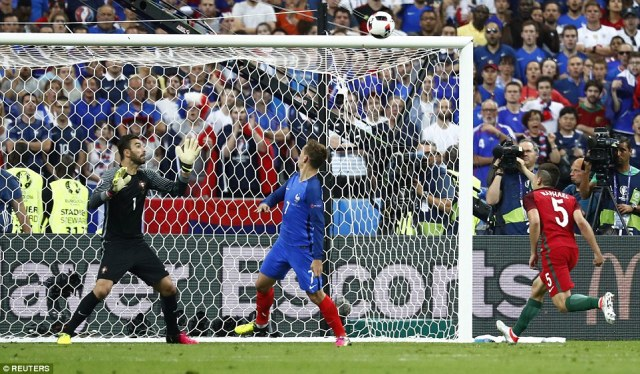 The tournament's top scorer, French striker Antoine Griezmann, misses a chance to head his side in front and bring his tally to seven goals