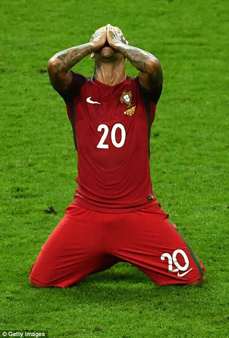 Unbelievable! Ricardo Quaresma (pictured), who came on for Ronaldo in the first-half, falls to his knees in celebration