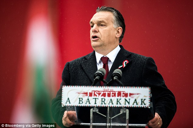 Outspoken: Hungary's prime minister Viktor Orbán (pictured) is the most anti-migration leader among the 28 EU nations, erecting a razorwire fence at his border in a zero tolerance approach to migration
