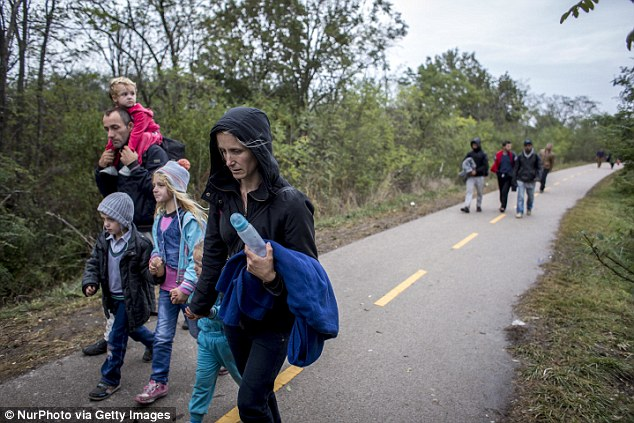 Desperate: A family crosses the border between Hungary and Austria as they continue their journey into Europe. But Hungary is set to refuse to accept a refugee quota in an October referendum