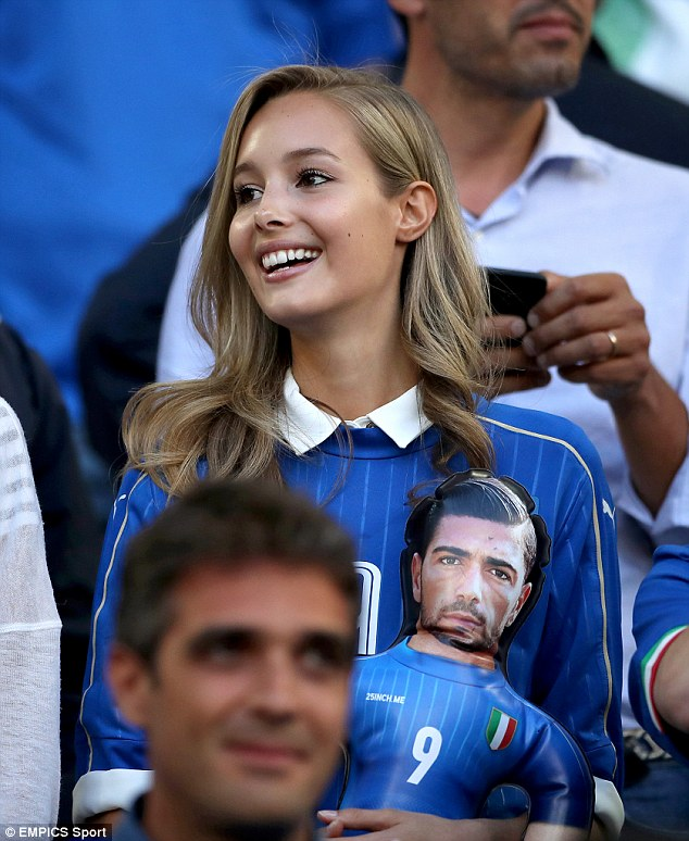 Pelle's girlfriend - Hungarian model  Varga - was spotted in the crowd supporting him at Euro 2016