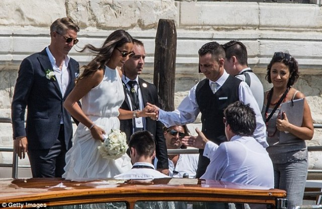 The 28-year-old Ivanovic was helped on to a boat as she and her husband departed along the canal