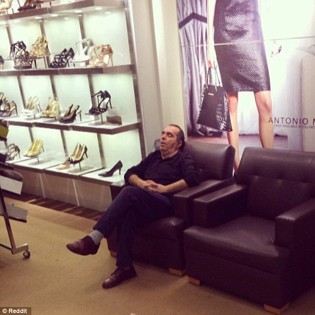 mannequin chair stand how to reupholster a wing hilarious photographs show men really feel when you take them shopping | daily mail online