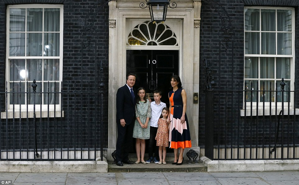 David Cameron his children and wife Sam leave Downing