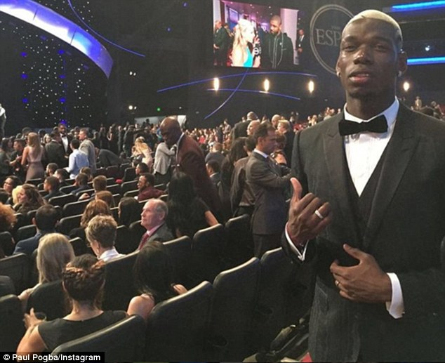 France and Juventus midfielder Paul Pogba attended the ESPY Awards in Los Angeles on Wednesday night