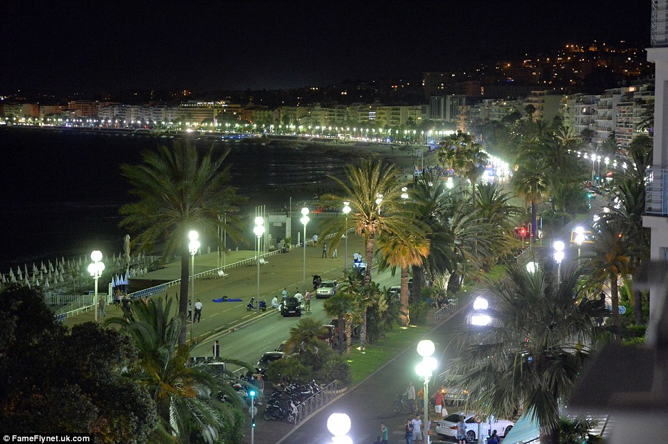 The killer drove for more than a mile along the promenade in Nice, pictured, 'knocking people down like skittles' according to witnesses