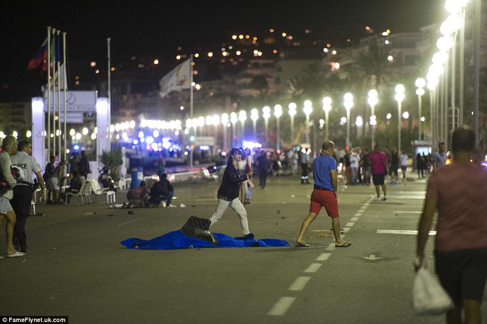 Thousands of people were making their way home after the fireworks display which took place in the centre of Nice last night