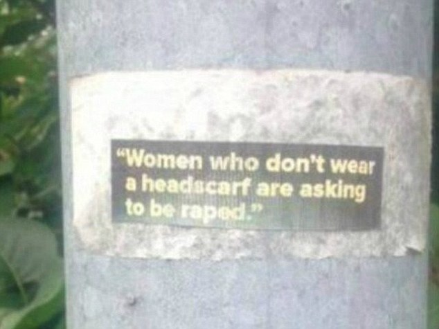 Disgusting stickers threatening women with rape if they don¿t wear headscarves have been posted in the streets of a small town in Sweden