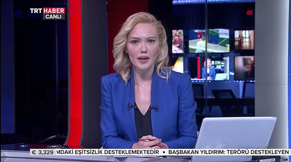 A statement from the Turkish military was read out on state TV, pictured, citing the growing terror threat as the reason for the coup