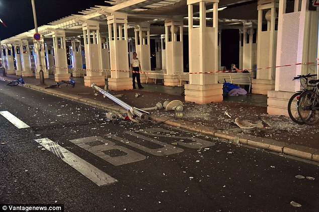 Carnage: The killer zig-zagged across the road trying to hit as many people as possible, including several children, who were killed as they watched the fireworks