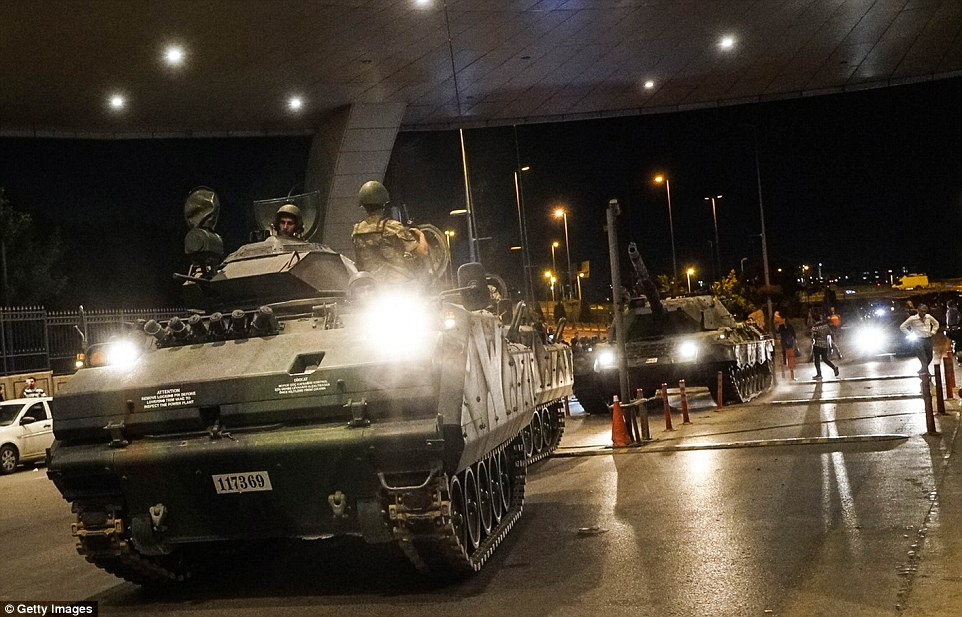 Turkish army's tank entered the Ataturk Airport during the coup where witnesses say they heard explosive noises