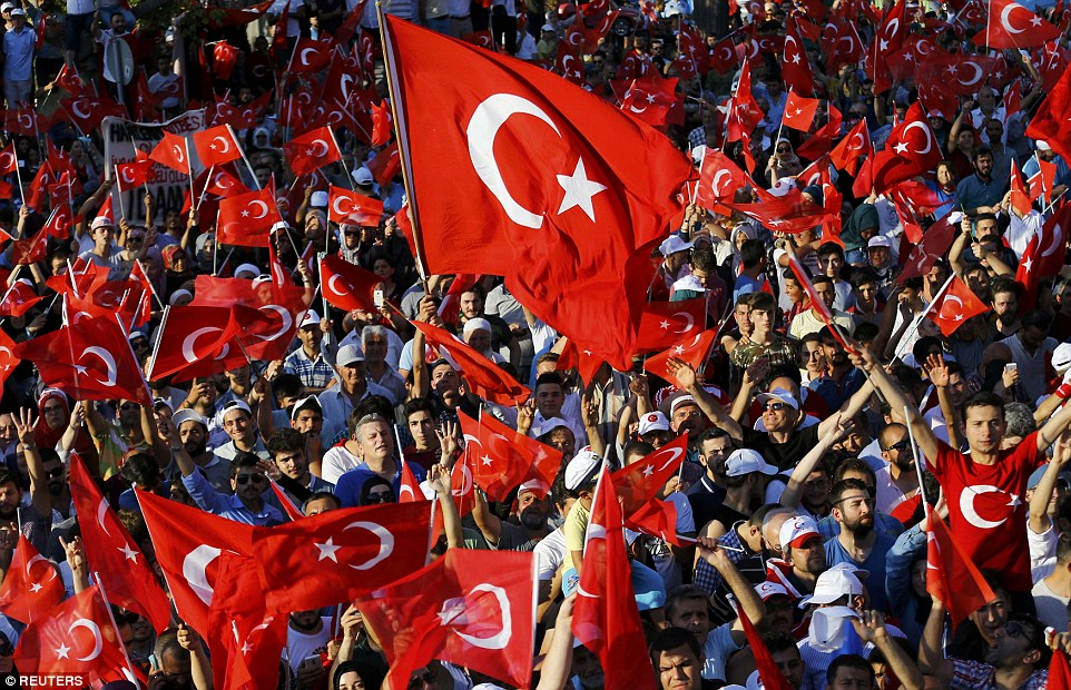 Thousands of supporters of President Recep Tayyip Erdogan congregated in Istanbul awaiting for him to address a major rally