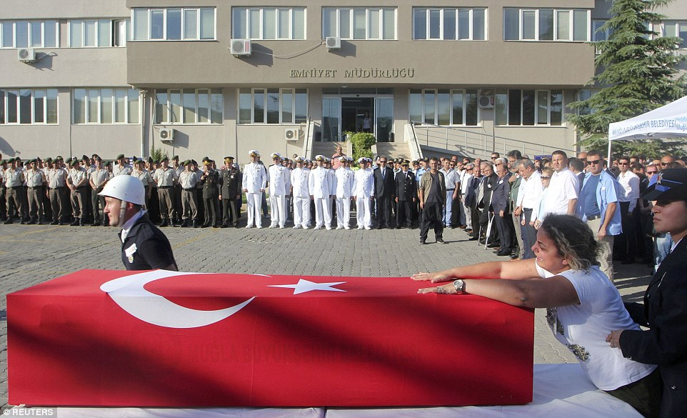 Eker received a guard of honour from the Turkish navy and military who remained loyal to president Recep Tayyip Erdogan last night