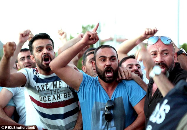 Protesters turned up at the courthouse in Mugla to demonstrate and shout abuse at the alleged coup members
