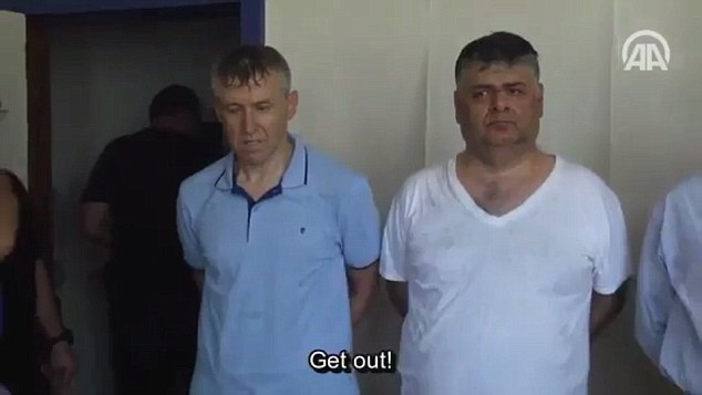 The footage was allegedly filmed at a police station in Ankara where the men are being held in custody before they appear in court later today