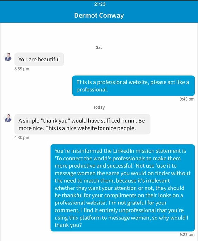 LinkedIn user tells admirer to stop using site like Tinder | Daily Mail Online