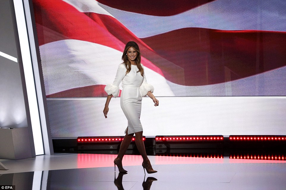 Slovenian beauty Melania Trump wore a stunning Roksanda Ilinicic dress as she spoke to the Republican Nation Convention on Monday night in Cleveland, Ohio