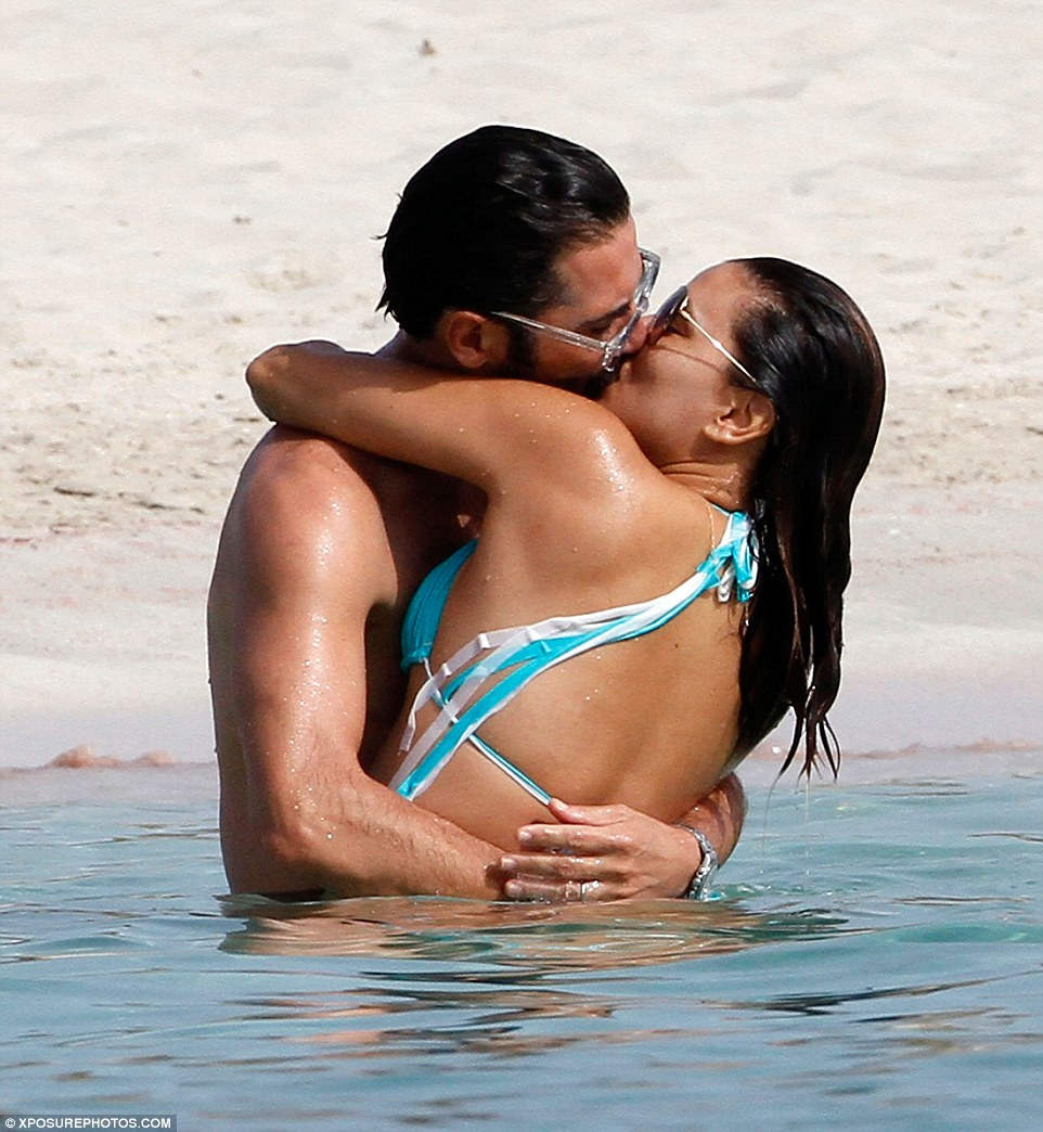 PDA!Eva Longoria and Jose Baston looked more loved up than ever as they frolicked in the sea on Spain's Balearic island Formentera