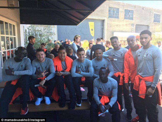 Sakho later took to Instagram to share this image of himself with his Liverpool team-mates in California