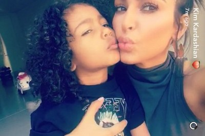 Family time: The mother-of-two also posed with daughter North