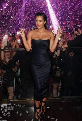 Svelte and toned: Kim parties in Vegas inside Hakkasan on Friday