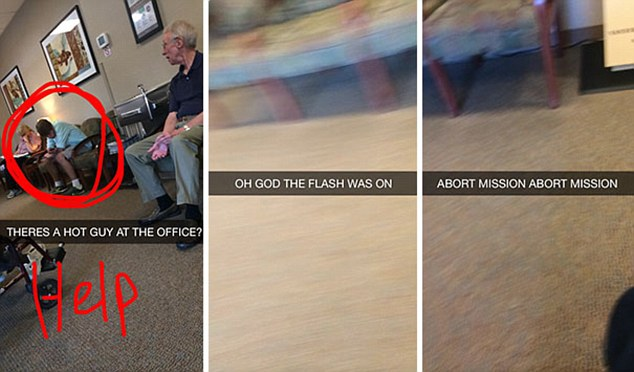 This three part Snapchat shows a 'hot guy' at the office - then goes on to say 'Oh God the flash was on'. The final snap reads 'Abort Mission Abort Mission'