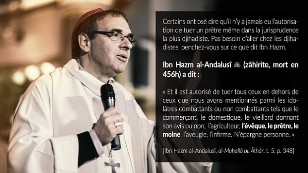 Cowardly ISIS jihadis have tried to justify the slaughter of a French priest by using a thousand-year-old teaching - and warned that they will 'spare no-one'. A message posted online was accompanied by a picture of an unknown priest