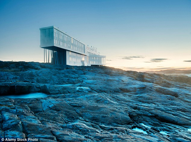 This contemporary hotel is located on rocky terrain on Fogo Island off the coast of Newfoundland in Canada
