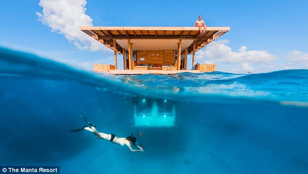 Africa's first underwater hotel room is 13ft below the surface of the Indian Ocean, north of Zanzibar