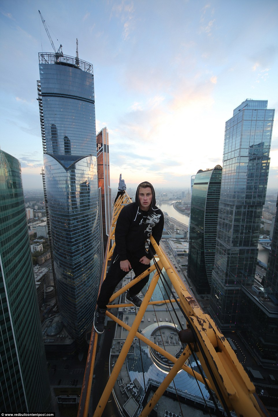 The financial district in Moscow provides the risk-takers with the perfect opportunity to scale the highest buildings