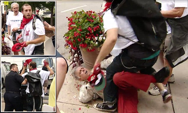 Hillary Clinton supporter, 23, attacks elderly pro-Trump protester, 67, when man tries to