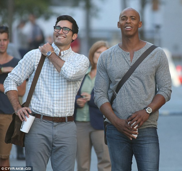 Set life: Tyler was also seen filming a scene with actor Mehcad Brooks, who plays James Olsen on the hit show
