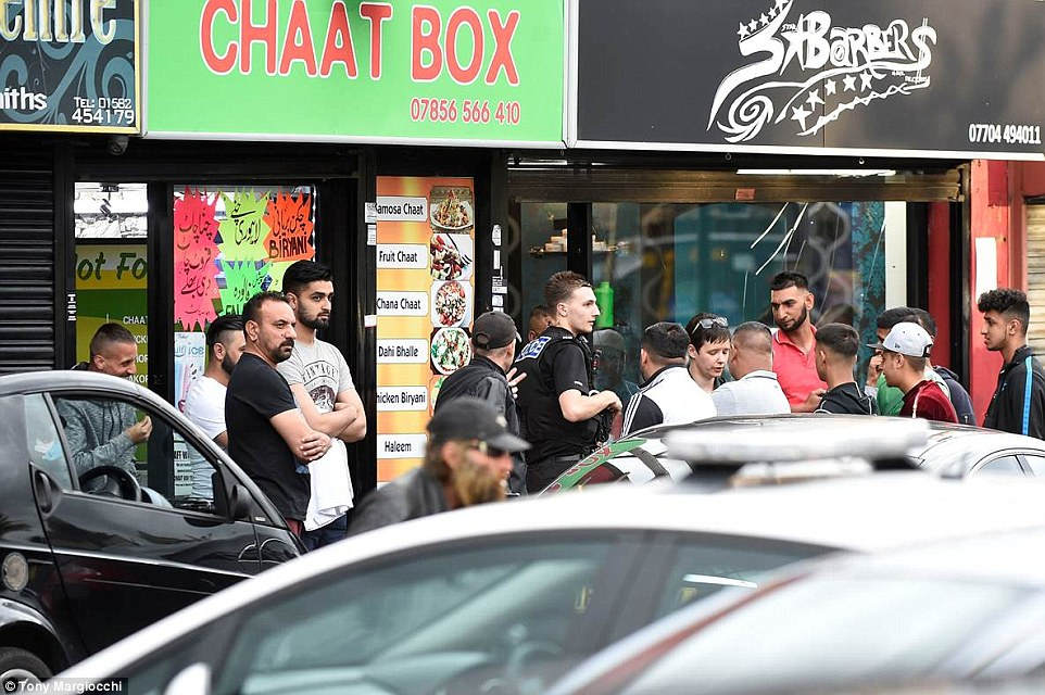 A police spokesman said: 'A number of people sustained minor injuries in the altercation and there was also criminal damage sustained to the barbers'