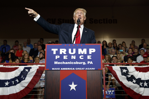 Republican presidential candidate Donald Trump  claimed at an Ohio rally on Monday (pictured) that he 'fears' the general election will be rigged in November