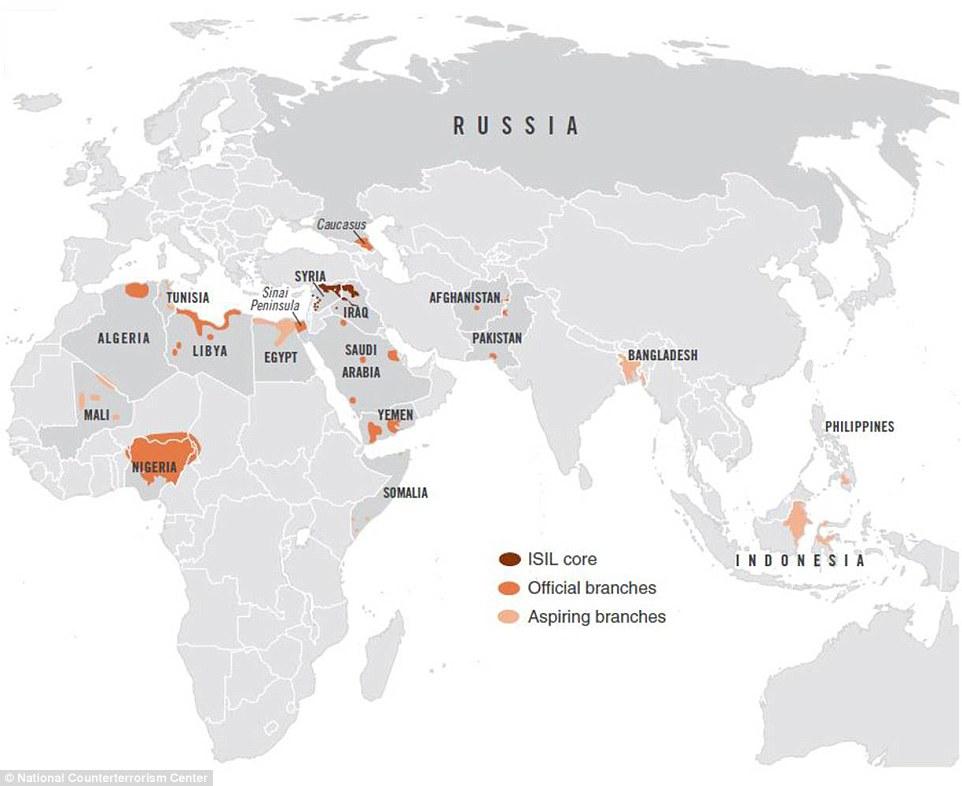NBC News ha obtenido un mapa, que muestra las zonas actuales del Estado Islámico de operación a partir de este mes.  Las áreas con sombreado más oscuro es donde se centra el grupo original.  Las áreas sombreadas de color naranja-medianos son los que el grupo tiene sucursales oficiales.  Las zonas de color naranja-sombreado más claro están donde están floreciendo células