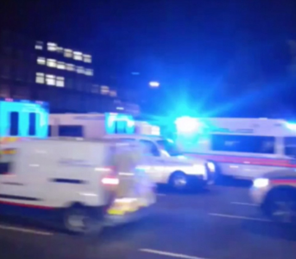A woman has died and up to five people have been injured in a possible terrorist knife attack in Russell Square in central London, police said. Pictured: Police and paramedics at the scene