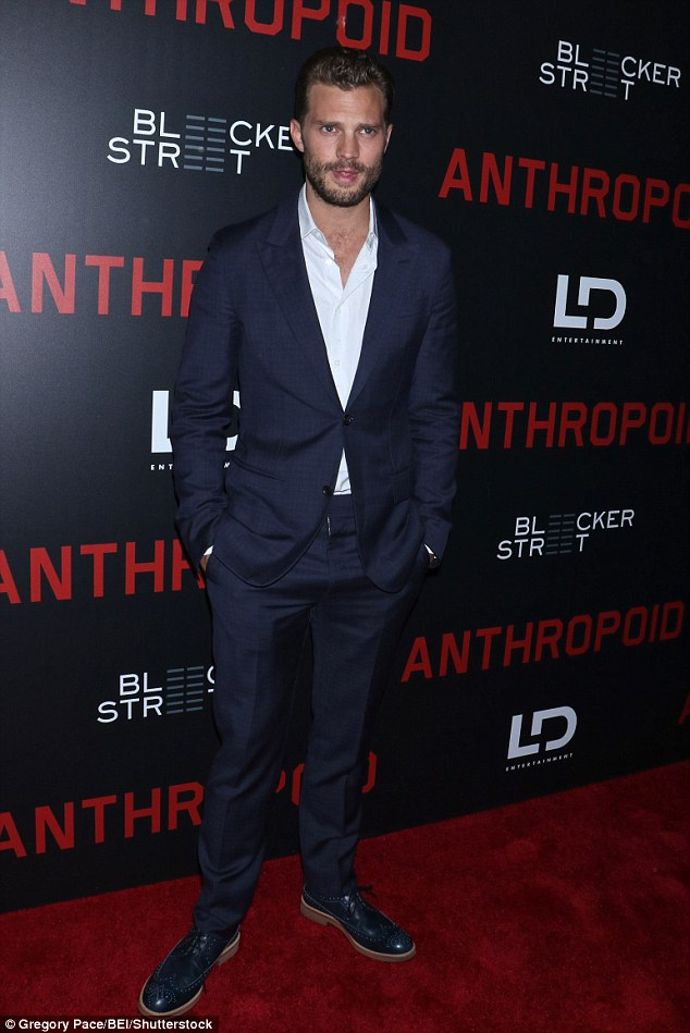 Leading man: On Thursday night Jamie was out and about for the premiere for Anthropoid - which tells the story of two Czech soldiers on a mission to assassinate a Nazi leader
