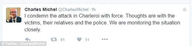 Belgian Prime Minister Charles Michel condemned the attack and wrote: 'Thoughts are with the victims'