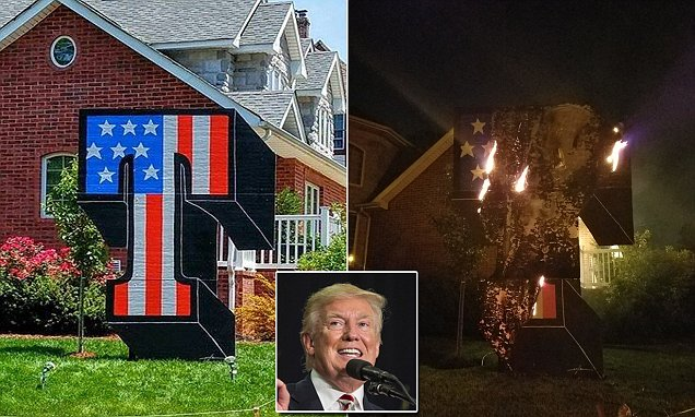 Donald Trump supporter's sign torched in New York
