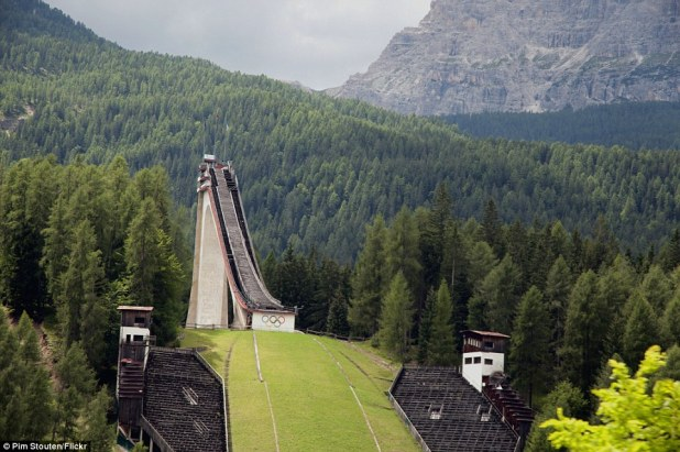 In Cortina d'Ampezzo, Italy, the disused ski-jumping course from the 1956 Winter Olympics threatens to collapse from decomposition