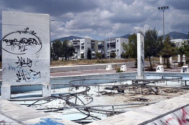 The former Olympic Village in Athens, Greece, has been reduced to rubble from neglect