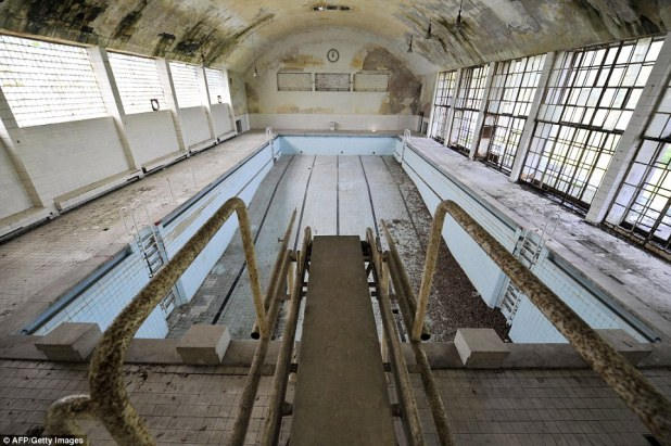 The 1936 Olympic village in Elstal, west of Berlin, housed over 4000 athletes and the pool has been left to fill with leaf-litter