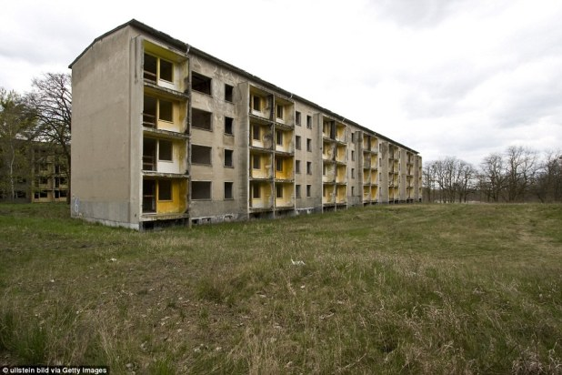 But the Brandenburg buildings have since been stripped of the outer walls, windows and doors and have been left as a shell of cement