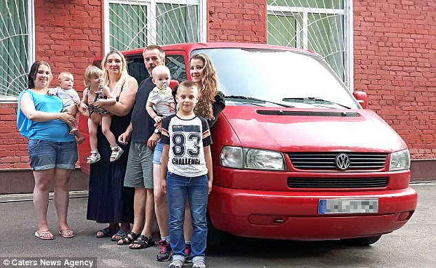 Two of their daughters, Dominique and Julia, along with four of their grandchildren were also crammed into the van